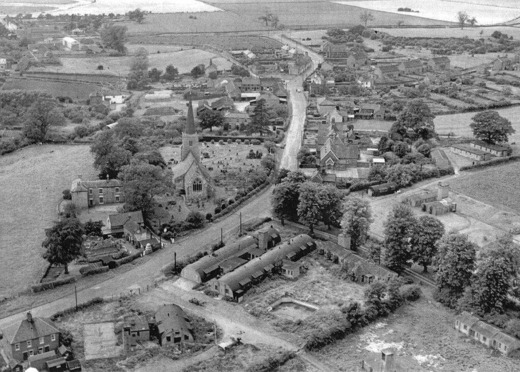 Black and white vintage aerial photo of RAF Kirmington